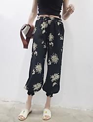 Mujer Chic de Calle Tiro Alto Inelástica Perneras anchas Pantalones,Corte Ancho Floral Gasa Volante
