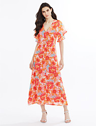 Women's Party Beach Holiday Going out Sexy Cute Street chic Chiffon Swing Dress,Floral Tile V Neck Midi Short Sleeve Chiffon Summer Fall