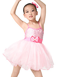 MiDee Kids' Dancewear Dresses Children's Training Spandex Tulle Bow(s) Sleeveless Natural