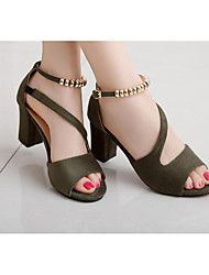 Women's Heels Basic Pump Summer Leatherette Leather Casual Black Gray Green Blushing Pink 1in-1 3/4in