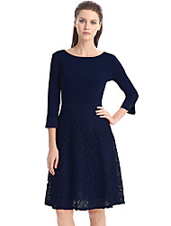 Womens Elegant  Lace  3/4 Sleeve Back V-back  Pleats Tunic  Vintage Casual Party Swing Skater A-Line Dress D0535