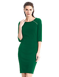 Womens Elegant Zipper O-Neck Contrast Casual Wear to Work Office Business Party Bodycon Pencil Dress
