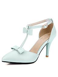Damen High Heels Pumps PU Sommer Hochzeit Kleid Party & Festivität Pumps Schleife Stöckelabsatz Weiß Blau Rosa 7,5 - 9,5 cm