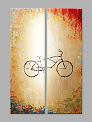 IARTS® Hand Painted Modern Abstract Bicycle Object Oil Painting On Canvas Set of 2 with Stretched Frame Wall Art For Home Decoration Ready To Hang