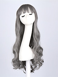 Hot Selling Grey Color Long Wave Women Wigs Heat Resisting Cospaly Syntheitc Wigs