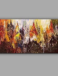 Hand-Painted Knife Oil Painting Abstract City Scenery Wall Art With Stretcher Frame Ready To Hang