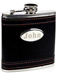 Personalized Stainless Steel 6-oz Black Leather Flask  Hip Flask