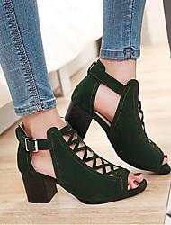 Для женщин Обувь Нубук Весна Удобная обувь Гладиаторы Сандалии С Назначение Повседневные Черный Зеленый Миндальный
