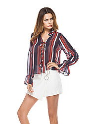 Women's Vacation Going out Casual/Daily Club Street Sexy Simple Street chic Summer Shirt,Striped One Shoulder Sleeveless Polyester