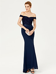 Mermaid / Trumpet Off-the-shoulder Sweep / Brush Train Chiffon Lace Formal Evening Dress with Sash / Ribbon Sequins by TS Couture®