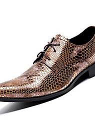 Unisex Oxfords Formal Shoes Nappa Leather Fall Winter Casual Office & Career Party & Evening Dress Formal Shoes Lace-up Chunky Heel Gold