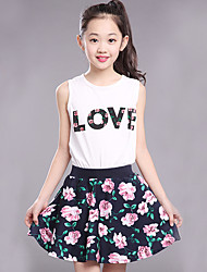 Girl's Fashion And Lovely Printed Letters Flowers Sleeveless Vest Broken Flower Skirt Two-Piece Dress