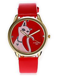 JUBAOLI Homens Relógio de Moda Único Criativo relógio Chinês Quartzo Mostrador Grande Couro Banda Desenhos Animados LegalPreta Branco