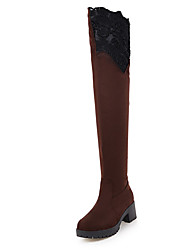 Women's Boots Gladiator Lycra Fleece Fall Winter Casual Party & Evening Dress Gladiator Chunky Heel Blue Ruby Brown Black 2in-2 3/4in