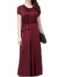 Gaine Robe Femme Soirée Sortie Décontracté / Quotidien Vintage Chinoiserie Sophistiqué,Couleur Pleine Col Arrondi Midi Manches Courtes