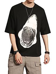 Hombre Simple Casual/Diario Verano Camiseta,Escote Redondo Un Color Media Manga Algodón Fino