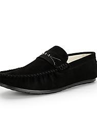 Masculino Sapatos de Barco Conforto Pele Nobuck Outono Inverno Casamento Casual Festas & Noite Caminhada Preto Cinzento Marron Azul