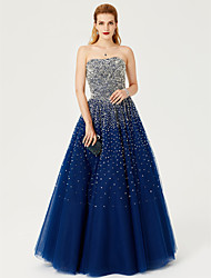 Ball Gown Strapless Floor Length Satin Tulle Stretch Satin Formal Evening Dress with Sequins