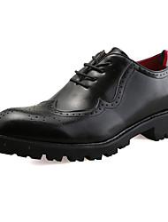 Men's Oxfords Comfort Light Soles PU Spring Fall Athletic Comfort Light Soles  Low Heel Dark Brown Light Brown Black Flat