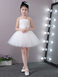 Ball Gown Short/Mini Flower Girl Dress - Stick-Satin Lace Tulle Strap with Appliques Petals