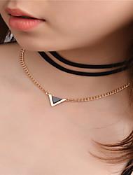 Women's Pendant Necklaces Layered Necklaces Geometric Chrome Rhinestones Alloy Geometric Euramerican Fashion Jewelry ForDailywear Daily