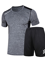 Men's Running T-Shirt with Shorts Short Sleeves Quick Dry Running Clothing Suits for Running/Jogging Exercise & Fitness Black+Gray