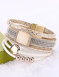 Women's Leather Bracelet Wrap Bracelet Bohemian PU Leather Circle Jewelry For Wedding Party Birthday Engagement Gift Ceremony Street