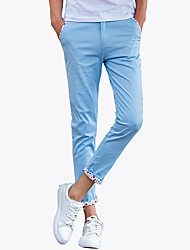 Hombre Adorable Sencillo Activo Tiro Medio Microelástico Ajustado Chinos Pantalones,Delgado Un Color Bloques