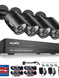 SANNCE® 8CH CCTV Security System Onvif 1080P AHD/TVI/CVI/CVBS/IP 5-in-1 DVR with 2.0MP Night Vision Weatherproof Camera No HDD Free Shipping