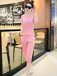 Manches Ajustées Pantalon Costumes Femme,Couleur Pleine Imprimé Quotidien Décontracté Décontracté Eté Manches Courtes Col Arrondi