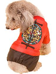 Собака Комбинезоны Одежда для собак Новый год Геометрические линии Желтый Красный