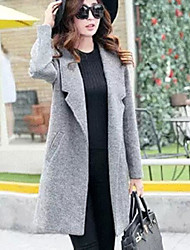 Women's Casual Simple Spring Fall Coat,Solid Shawl Lapel Long Sleeve Long Polyester