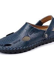 Herren Sandalen Komfort Leuchtende Sohlen Leder Frühling Sommer Normal Walking Komfort Leuchtende Sohlen Flacher Absatz Schwarz Braun Blau