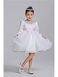 Princesse longueur au genou robe fille fleur - polyester 100% coton manches 3/4 manches bijoux col