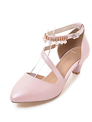 Women's Sandals Basic Pump PU Summer Casual Party & Evening Dress Basic Pump Split Joint Low Heel Blushing Pink Black White 1in-1 3/4in