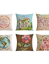 6 pcs Linen Pillow case Bed Pillow Body Pillow Travel Pillow Sofa Cushion Pillow Cover,Floral Word / Phrase Graphic Prints