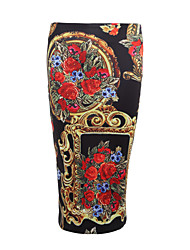 Women's Daily Beach Going out Casual/Daily Holiday Midi Skirts,Simple Street chic Bodycon Floral Print Summer