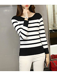 Women's Casual Sexy Short Pullover,Striped Round Neck Long Sleeve 100%Cotton Spring Fall Thin Stretchy