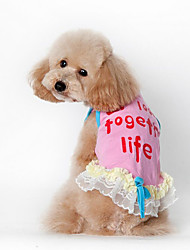 Cachorro Vestidos Colete Roupas para Cães Casual Carta e Número Azul Rosa claro