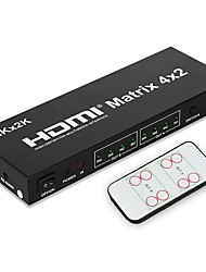 4K Matrix High Speed HDMI V1.4 4X2 HDMI Matrix Switch(4 in 2 out) with Remote Control Support 3D 1080P for XBOX DVD PS3 PS4 Projector