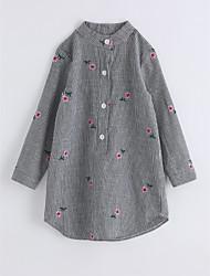 Girls' Stripe Lattice Shirt,Cotton Autumn/Fall Long Sleeve