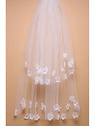 Véus de Noiva Duas Camadas Véu Ruge Véu Cotovelo Corte da borda Tule