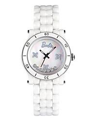 Mulheres Relógio de Moda Quartzo Cerâmica Banda Preta Branco