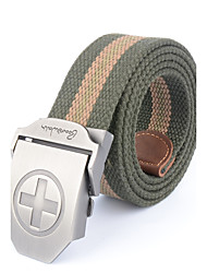 Men's Alloy Outdoor Waist Belt Casual/Business Color Block Striped Cotton Canvas Belt Khaki/Black/Army Green