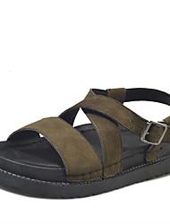 Women's Sandals Gladiator PU Spring Summer Casual Dress Gladiator Zipper Wedge Heel Black Beige Green 4in-4 3/4in