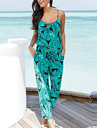 Femme Rétro Sexy Bohème Taille Haute Plage Sortie Vacances Combinaison-pantalon,Mince Classique Sexy Vacances Feuille Imprimé Rétro