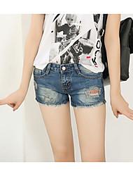 Women's Mid Rise Micro-elastic Jeans Shorts Pants,Simple Wide Leg Floral