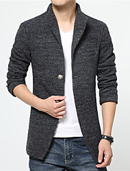 Men's Business Daily Chic & Modern Spring/Fall Winter Jacket,Solid Color Stand Half Sleeve Regular Polyester/Rayon(T/R) Fur Trim