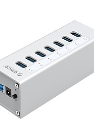 Orico a3h4-bk alumínio usb3.0 7ports 5gbps 1mcable com mac hub de interface