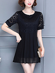 Women's Plus Size Slim Elegant chic Loose Chiffon Dress Solid Patchwork Lace Cut Out Round Neck Mini Short Sleeve Summer